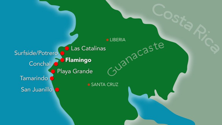 Map of Flamingo Beach on the Gold Coast of Guanacaste, Costa Rica